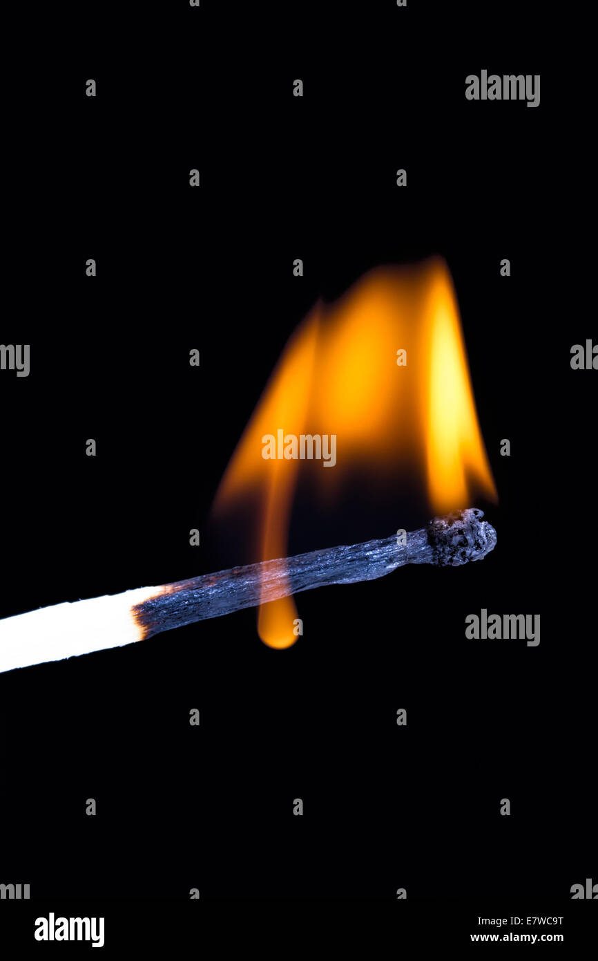 Burning match with flame on black background. - Stock Image