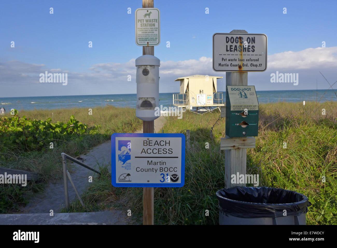 Dog regulation signs on Hobe Sound Beach Jupiter Island Florida - Stock Image