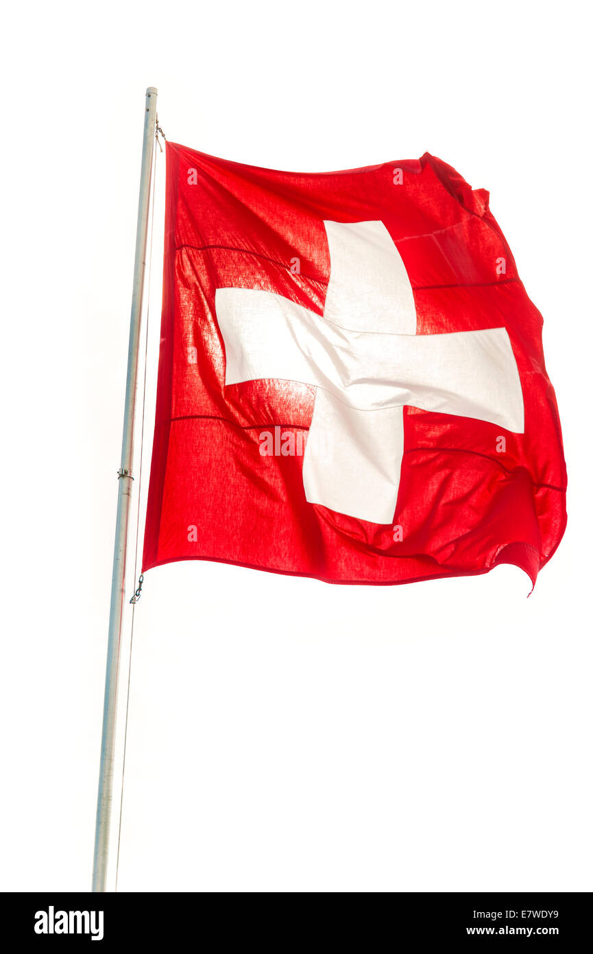 The swiss flag, backlit and isolated on white - Stock Image