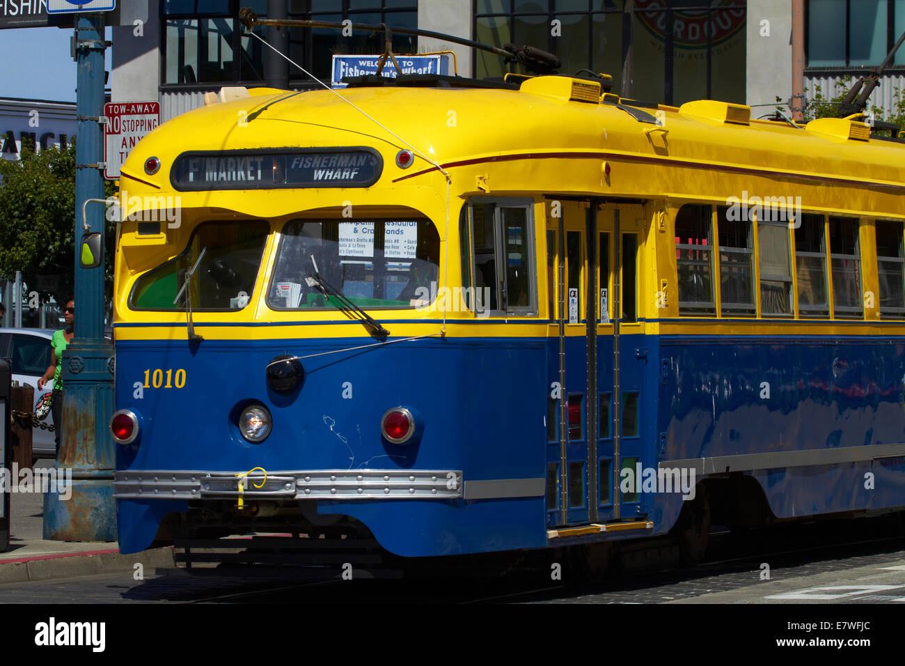 Heritage streetcar, Fishermans Wharf, San Francisco, California, USA - Stock Image