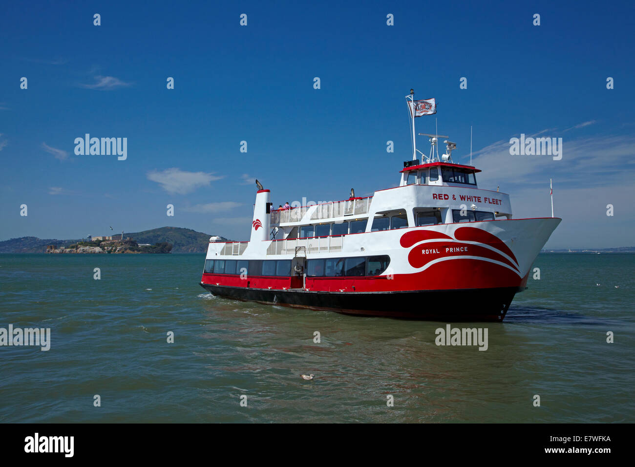 Royal Prince tour boat, Pier 43 1/2, Fishermans Wharf, and Alcatraz Island, San Francisco, California, USA - Stock Image