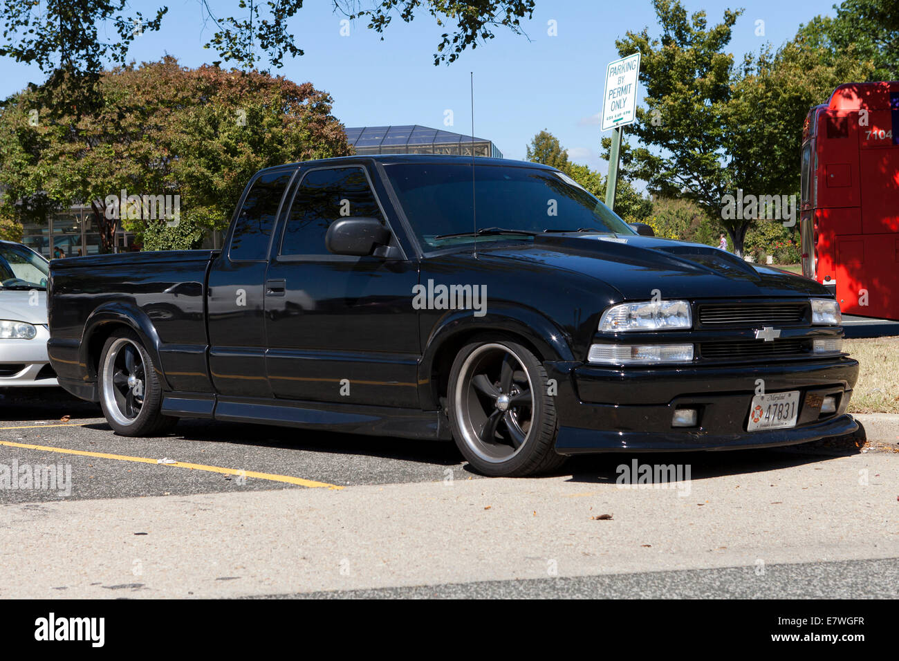 Lowered suspension pickup truck - USA - Stock Image