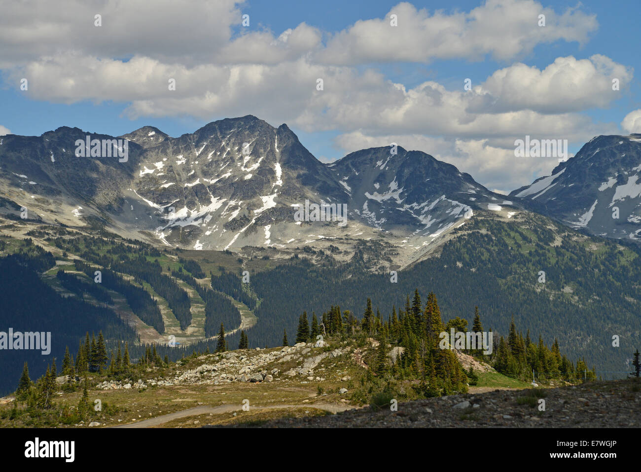 Snow covered peaks near Whistler Mountain. Whistler is one of the world's premier ski resorts and has hosted - Stock Image