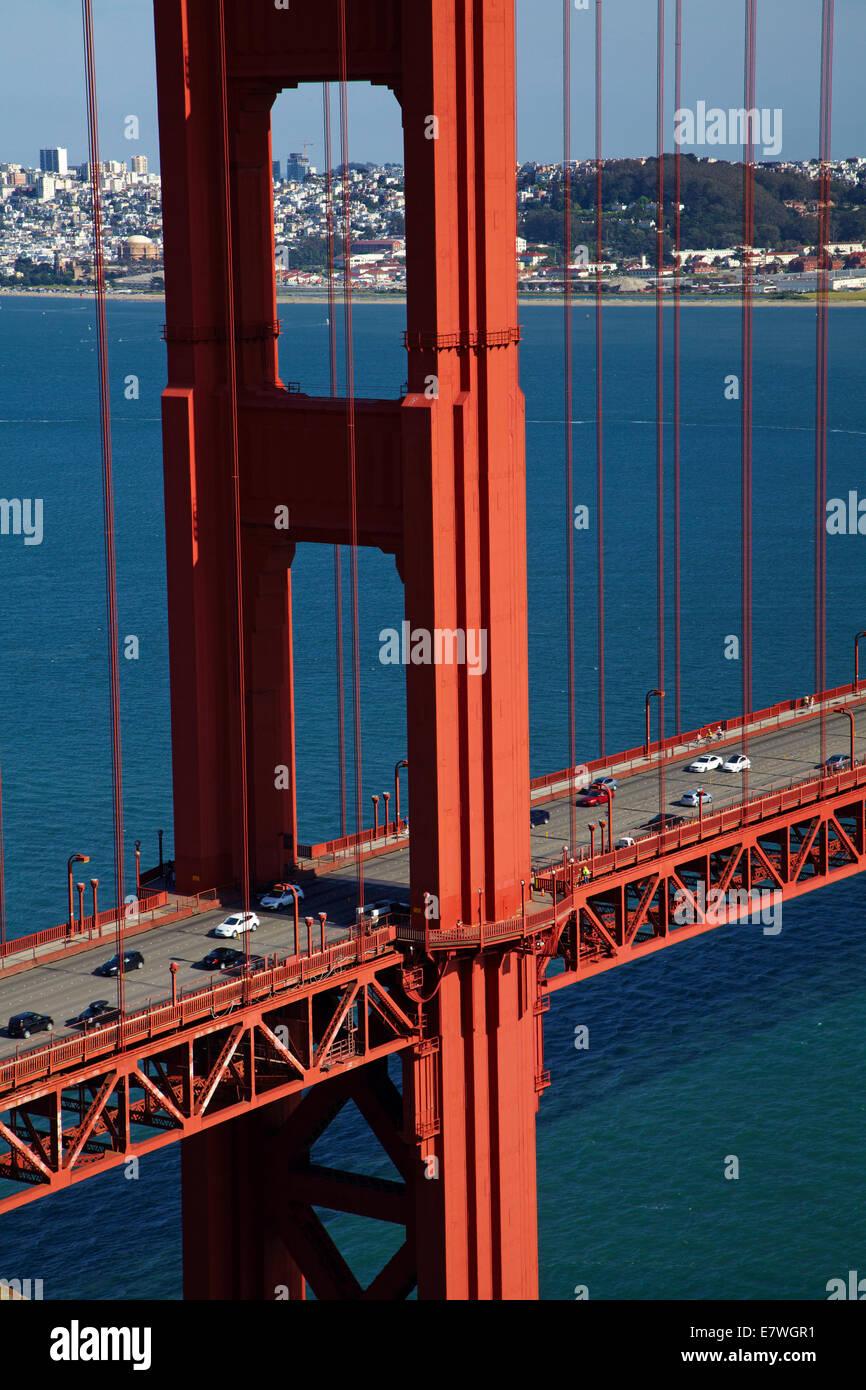 Traffic on Golden Gate Bridge, San Francisco Bay, San Francisco, California, USA - Stock Image
