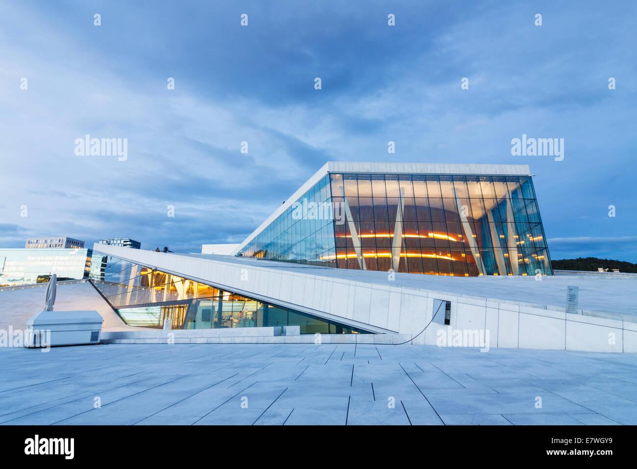 Opera Hall at night, Oslo, Norway - Stock Image