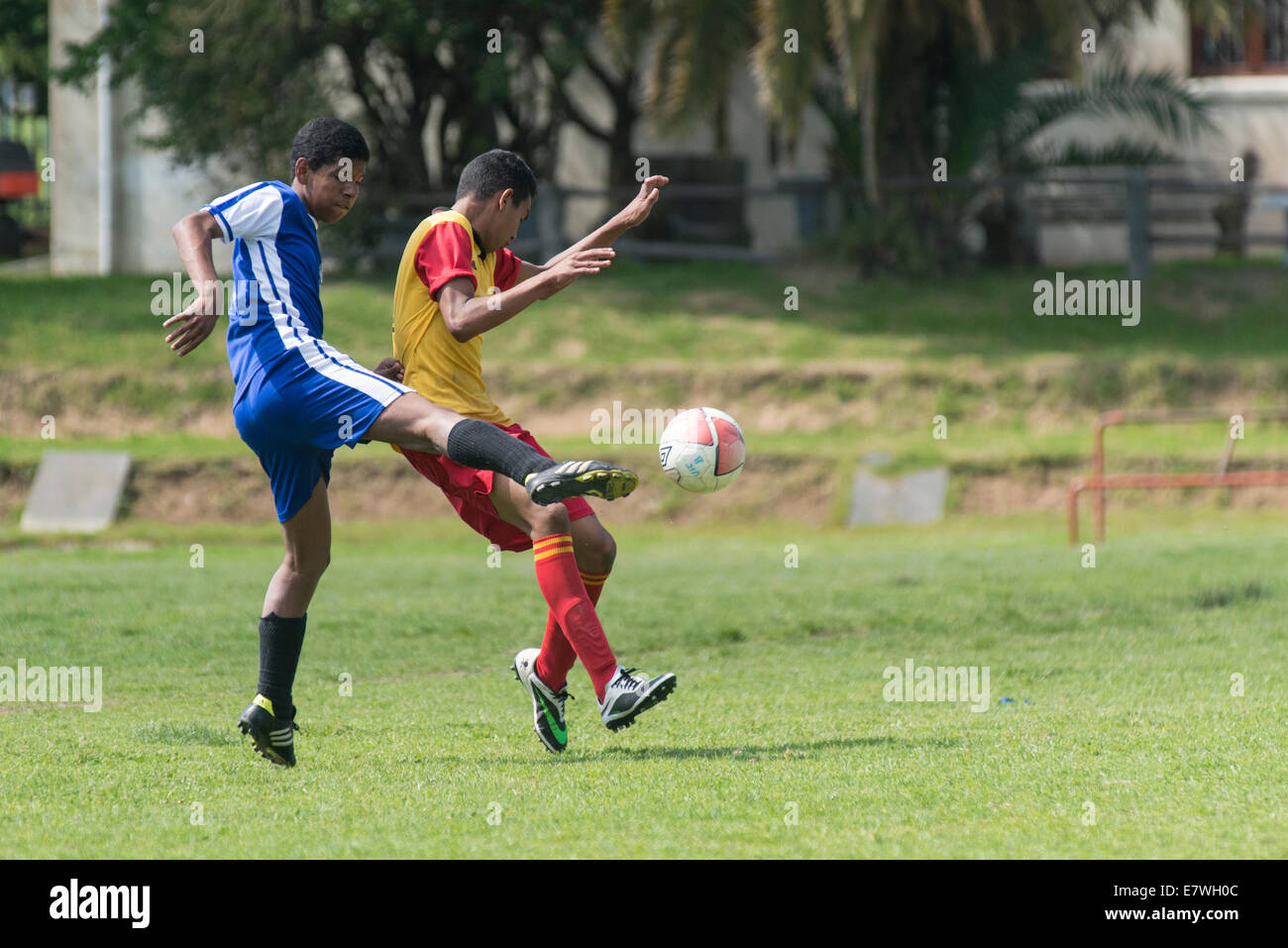 Football striker kicking the ball hard, defender trying to defend, Cape Town, South Africa - Stock Image