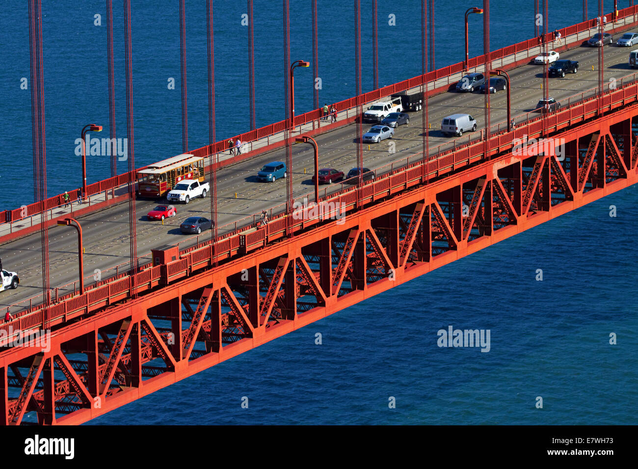 Traffic on Golden Gate Bridge, San Francisco Bay, San Francisco, California, USA Stock Photo