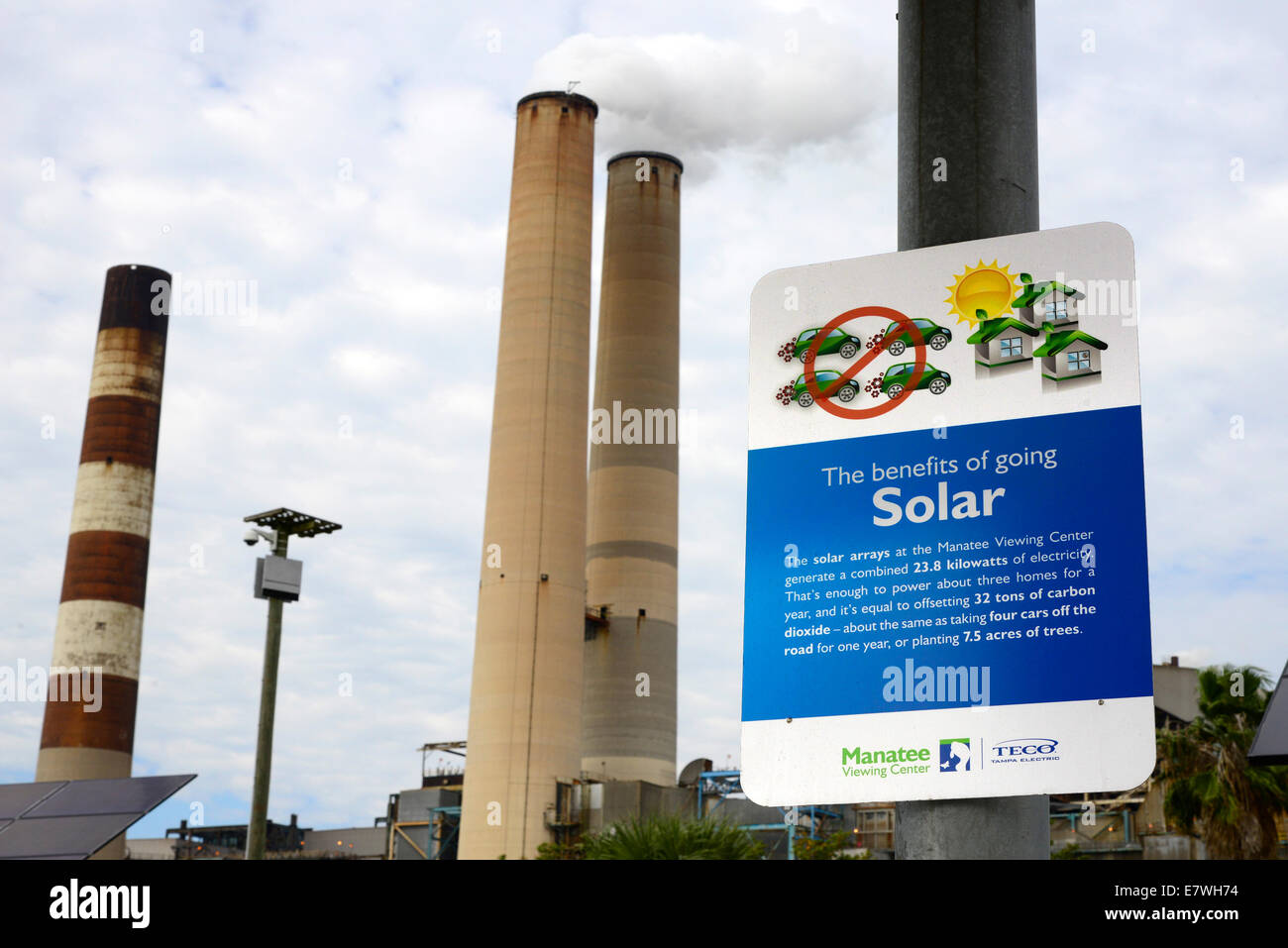 Solar energy used by TECO Tampa Electric Power company florida fl - Stock Image