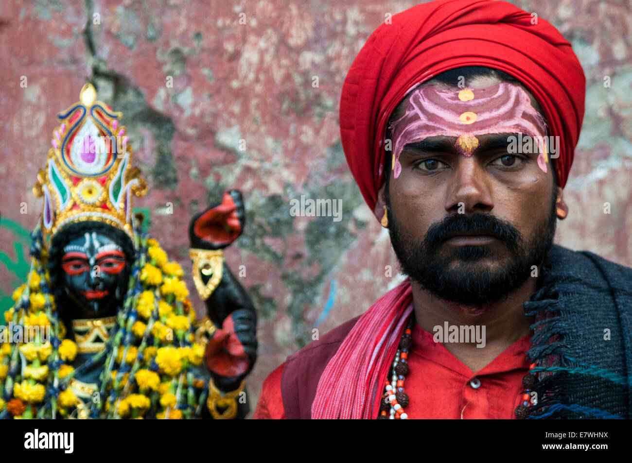 A Sadhu by the Hooghly river in Kolkata. - Stock Image