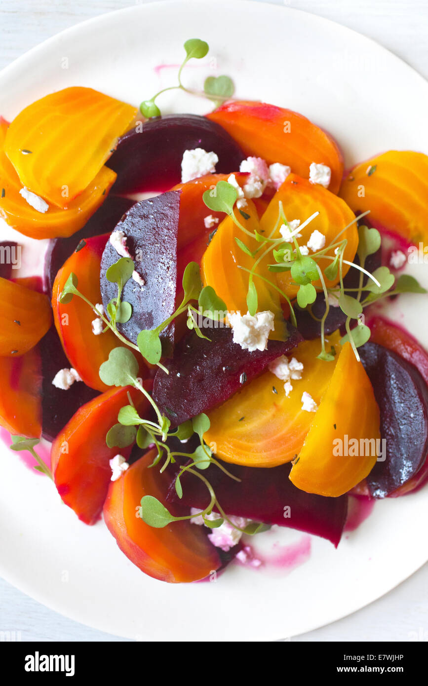 Yellow, orange, and red beet salad - Stock Image