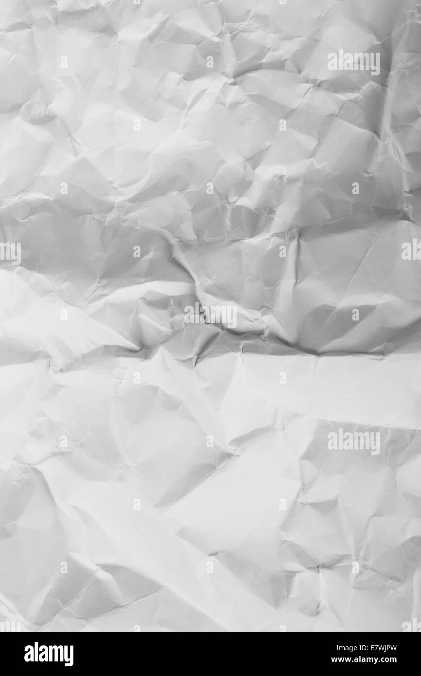 Paper background, white grunged, crumpled texture. - Stock Image