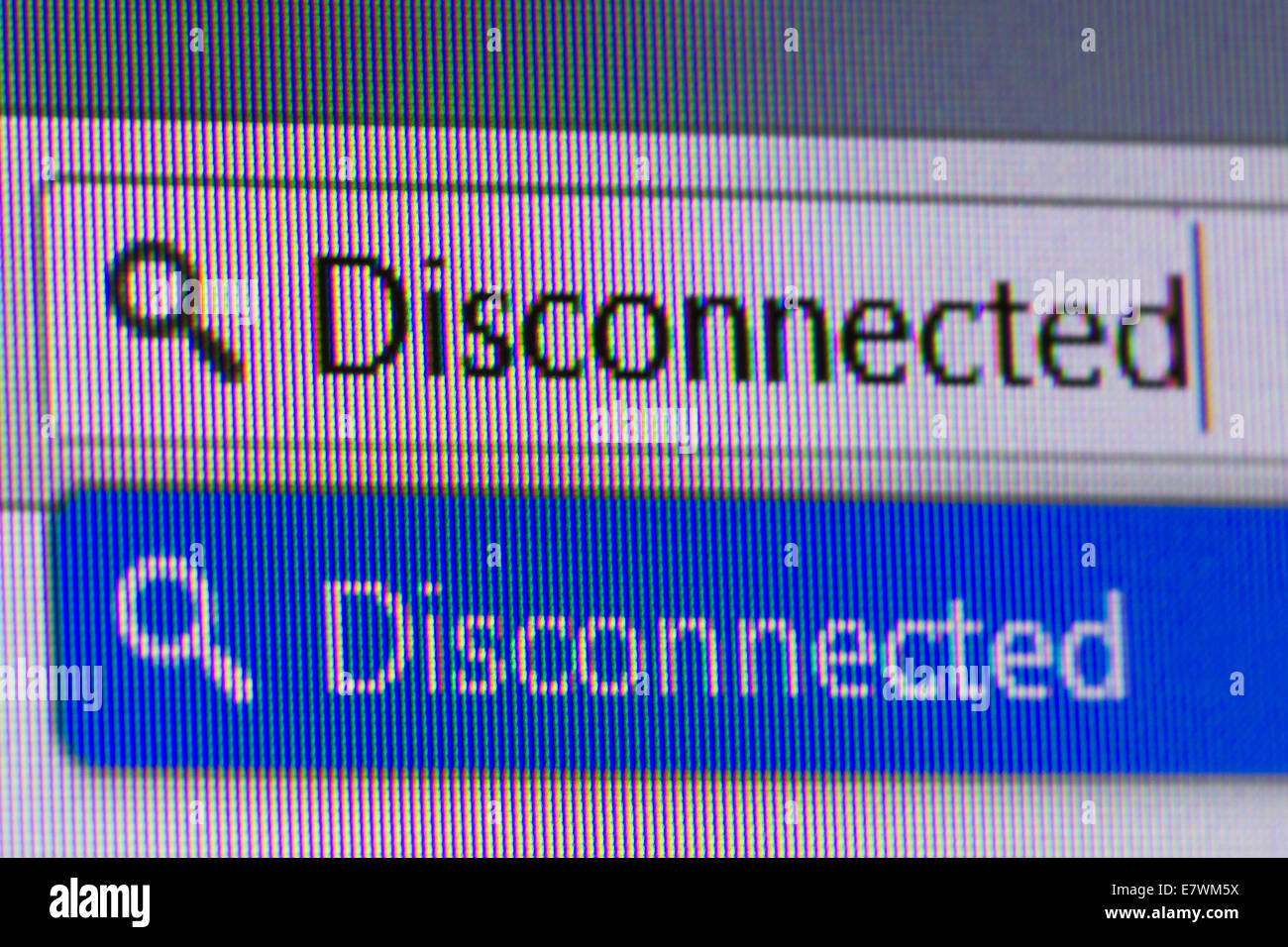 Close up macro of conputer screen internet browser address bar with disconnected text. - Stock Image