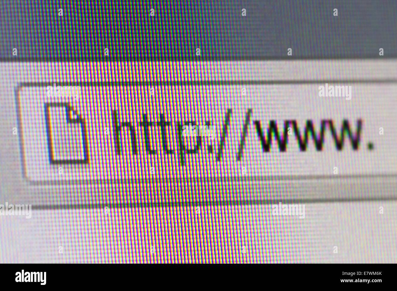 Close up macro of conputer screen internet browser address bar world wide web text. - Stock Image