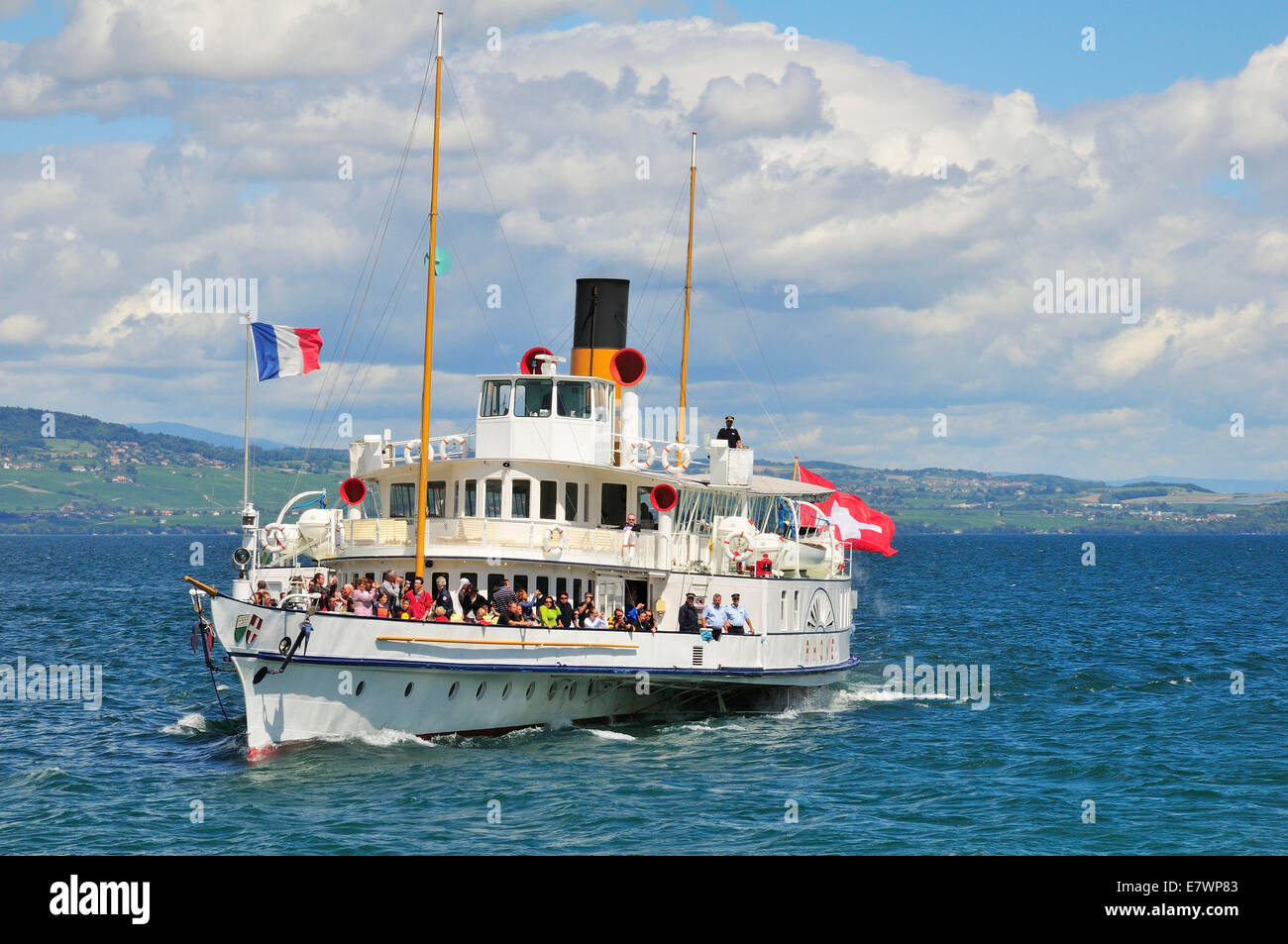 Paddle steamer France on Lake Geneva or Lac Leman, Yvoire, Rhone-Alpes, Haute-Savoie, France Stock Photo