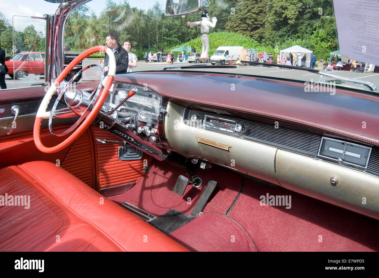 cadillac car cars interior softtop soft top tops convertible inside convertibles fifties 1954 classic american big - Stock Image