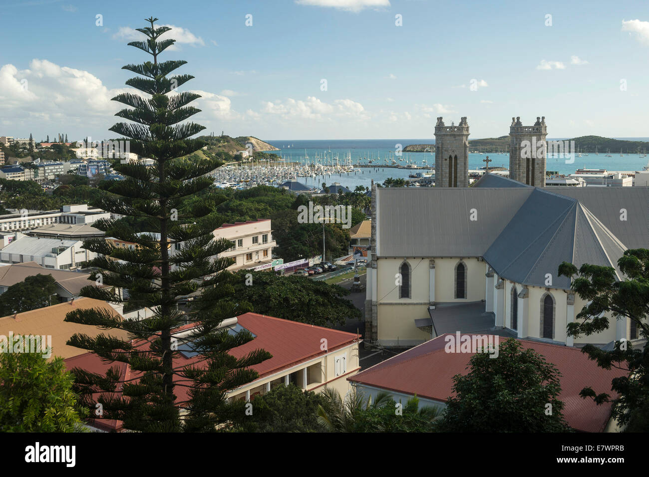 View across the harbour and Saint-Joseph Cathedral, Noumea, Grande Terre, New Caledonia - Stock Image
