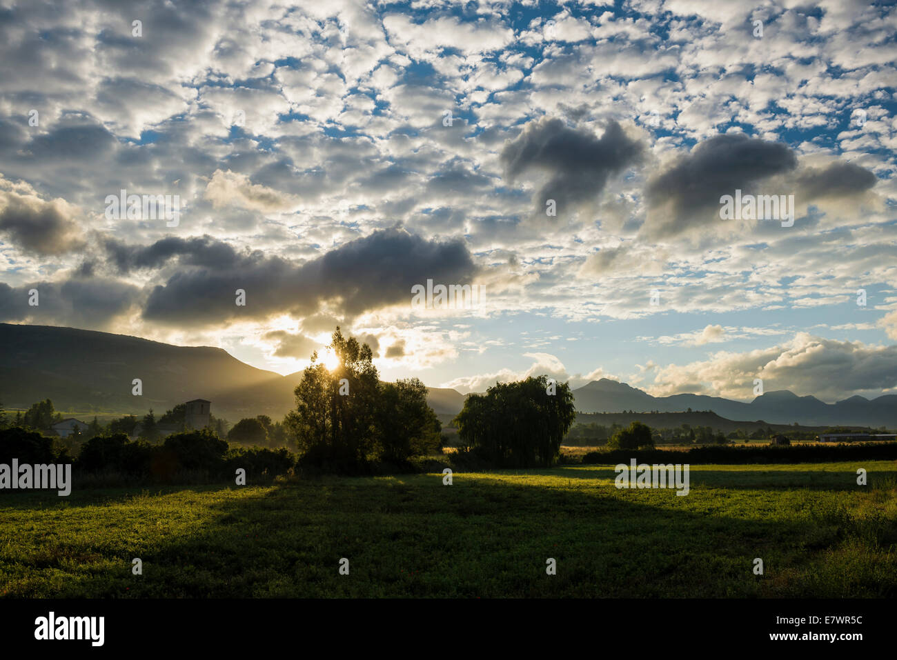 Sunrise, Sainte-Jalle, Drôme, Rhône-Alpes, Provence, France Stock Photo