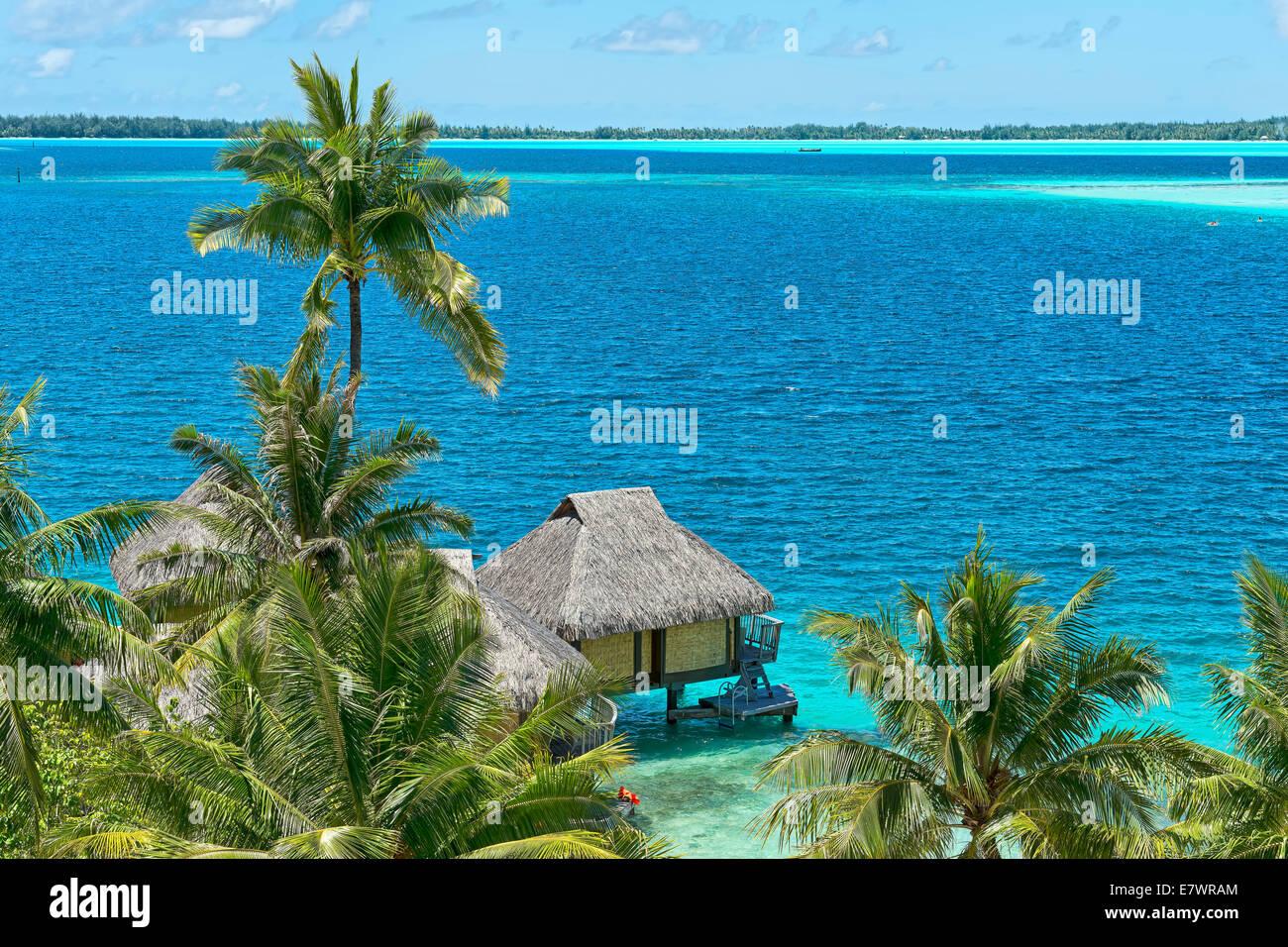 Overwater bungalow, South Pacific, Bora Bora, French Polynesia - Stock Image