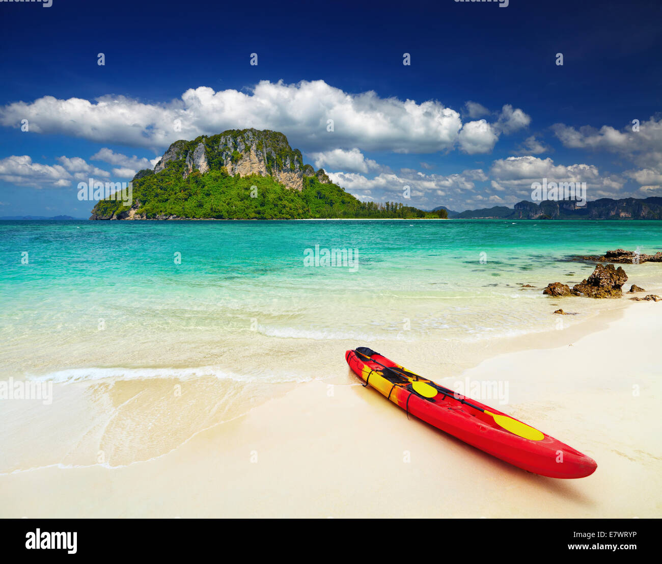 Colorful kayak on the tropical beach, Thailand - Stock Image