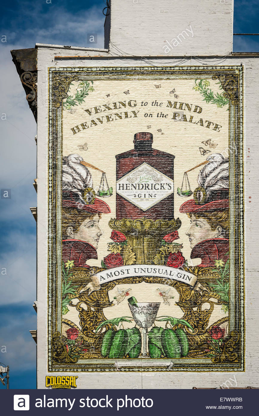 Hendrick's Gin - Vexing to the Mind, Heavenly on the Palate, New York City - USA. - Stock Image