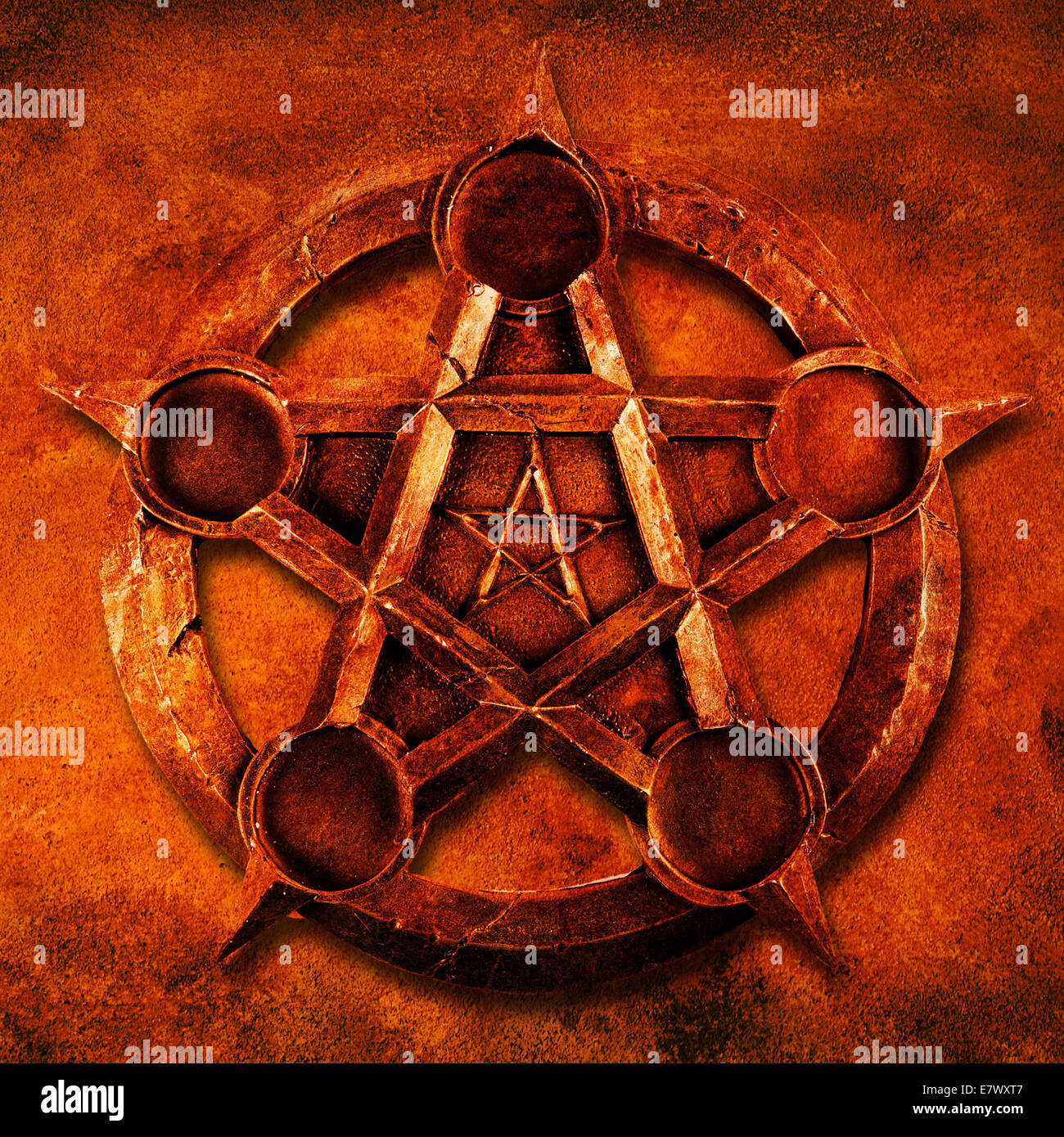 magic pentacle with red grunge background - Stock Image