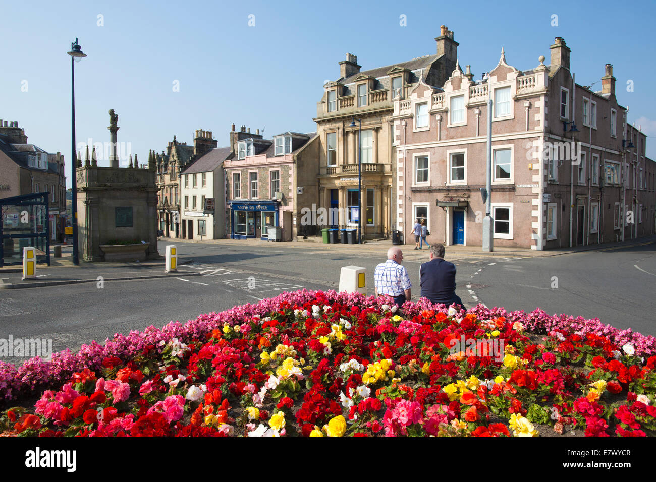 Market Place, Selkirk, The Royal and Ancient Burgh of Selkirk, Scottish Borders, Scotland, UK - Stock Image