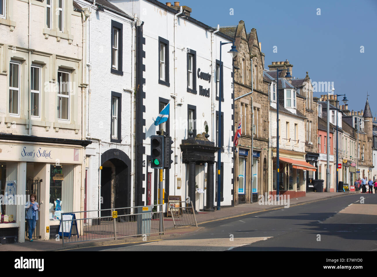 High Street, Selkirk, The Royal and Ancient Burgh of Selkirk, Scottish Borders, Scotland, UK - Stock Image