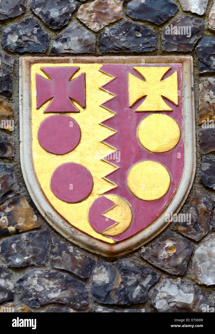 London, England, UK. Church House in Deans Yard, Westminster. Coat of arms set in the outside wall: diocese of Birmingham - Stock Image