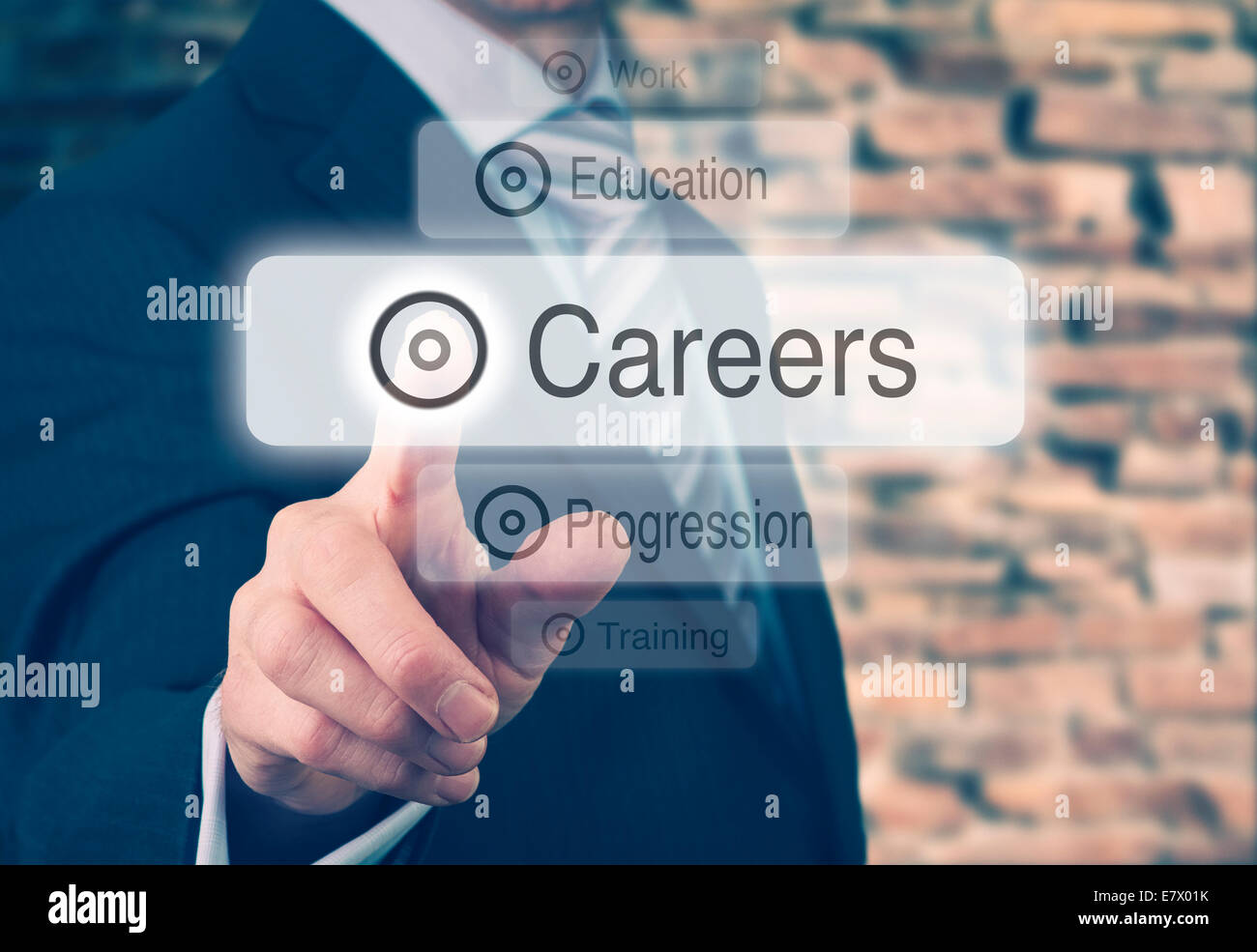 Businessman pressing a Careers concept button. Instagram Styling Applied - Stock Image