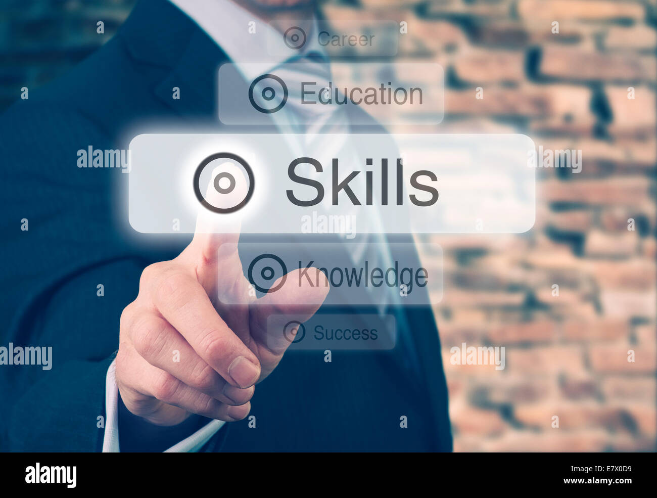 Businessman pressing a Skills concept button. Instagram Styling Applied. - Stock Image