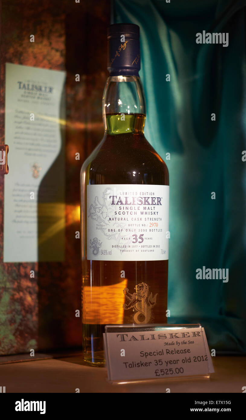 A close up of a Vintage bottle bottle of 35 Year old Talisker Whiskey, Limited Edition, Isle of Skye distillery. - Stock Image