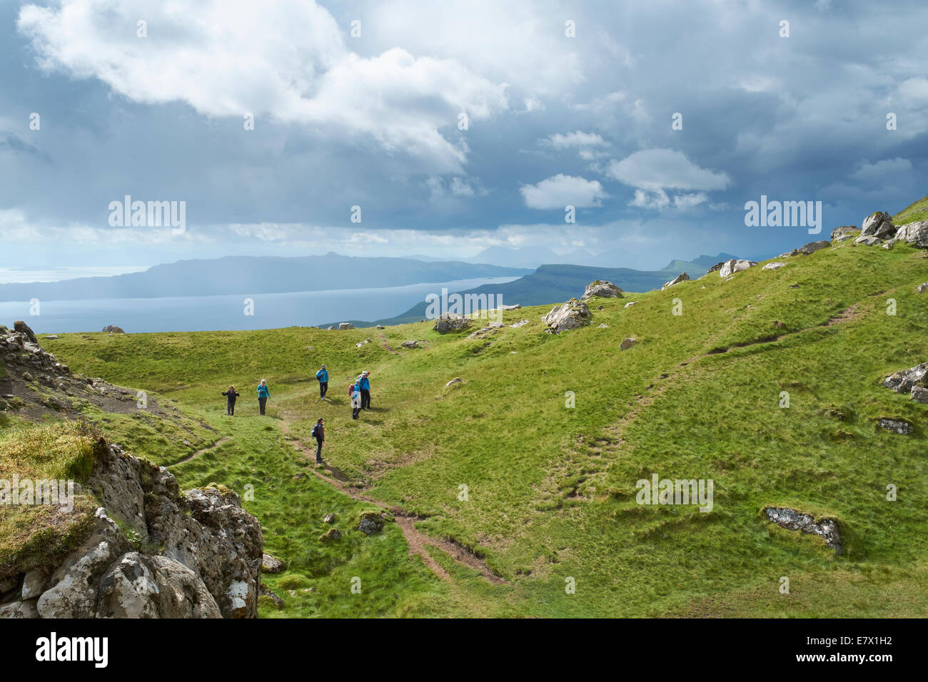 Looking over the Quiraing, Storr and the Sound of Raasay on the Isle of Skye, Scottish Highlands, Scotland. - Stock Image
