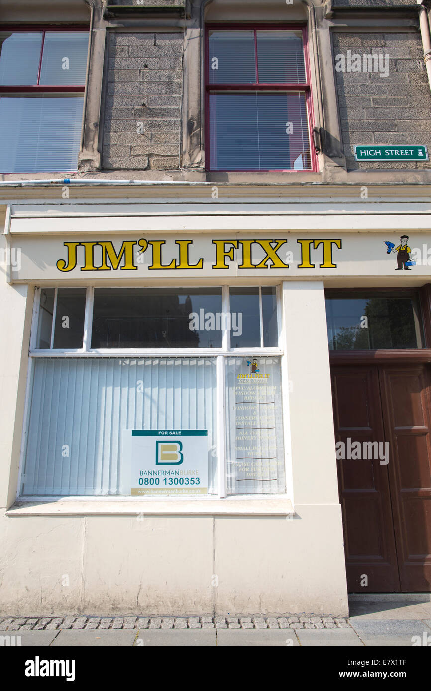 Jim'll Fix It business premises in Hawick, Scottish Borders, Scotland, UK - Stock Image