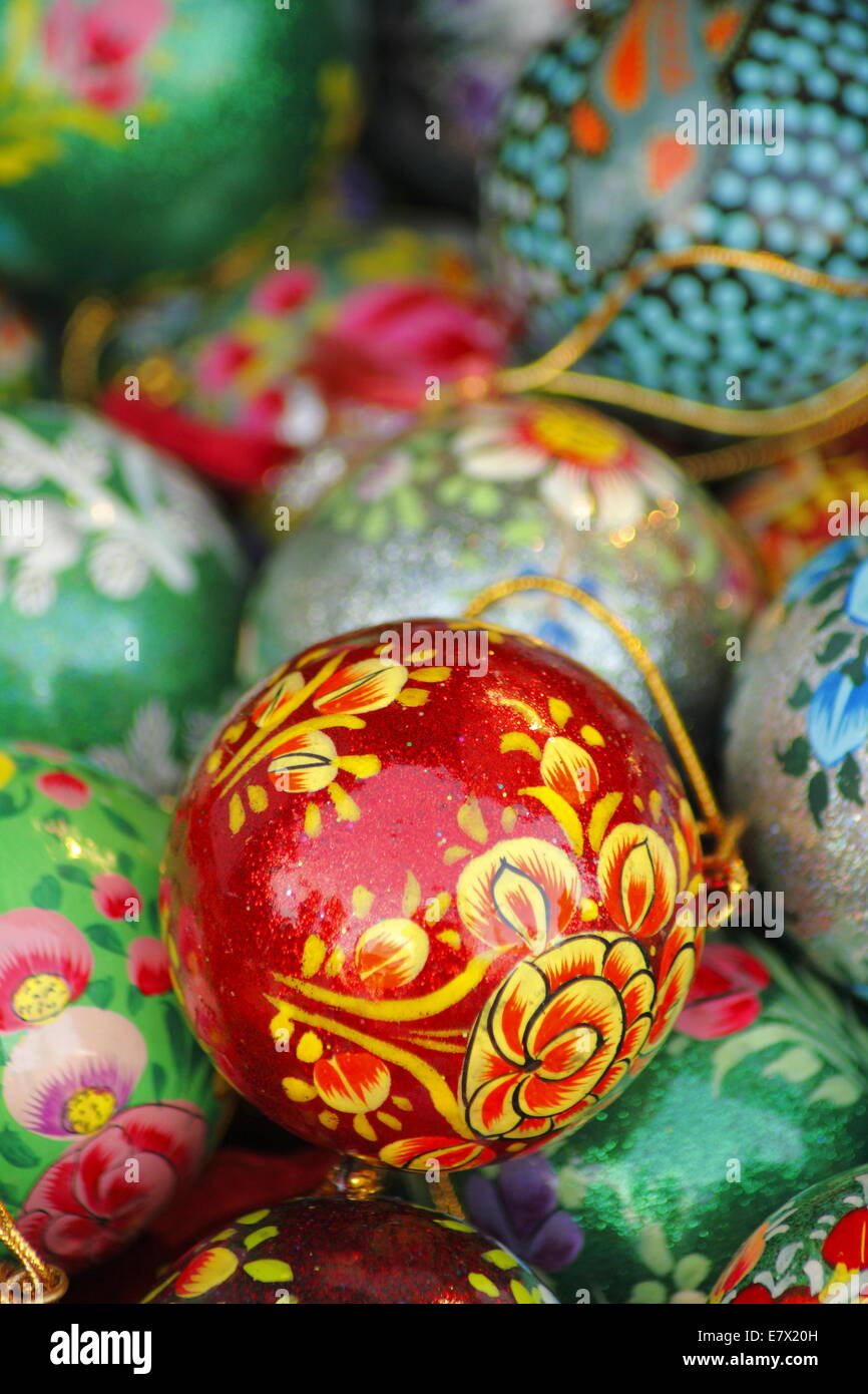 A Collection Of Decorated Painted Vintage Style Christmas Baubles