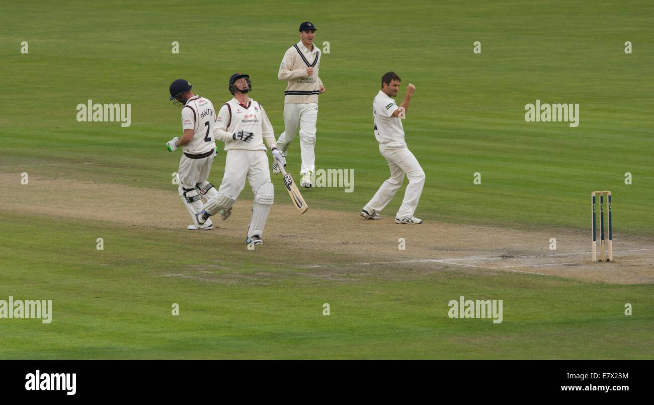 Manchester, UK. 25th Sep, 2014. Lancashire batsman Glen Chapple shows his dismay as Luke Procter is given out lbw - Stock Image