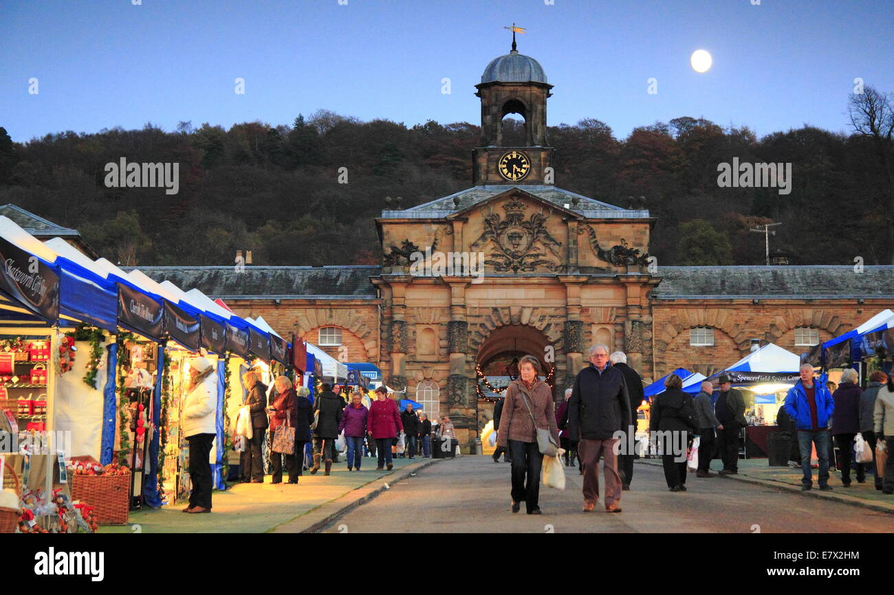 The Christmas Market in full swing outside the Stables in the grounds of Chatsworth  House,