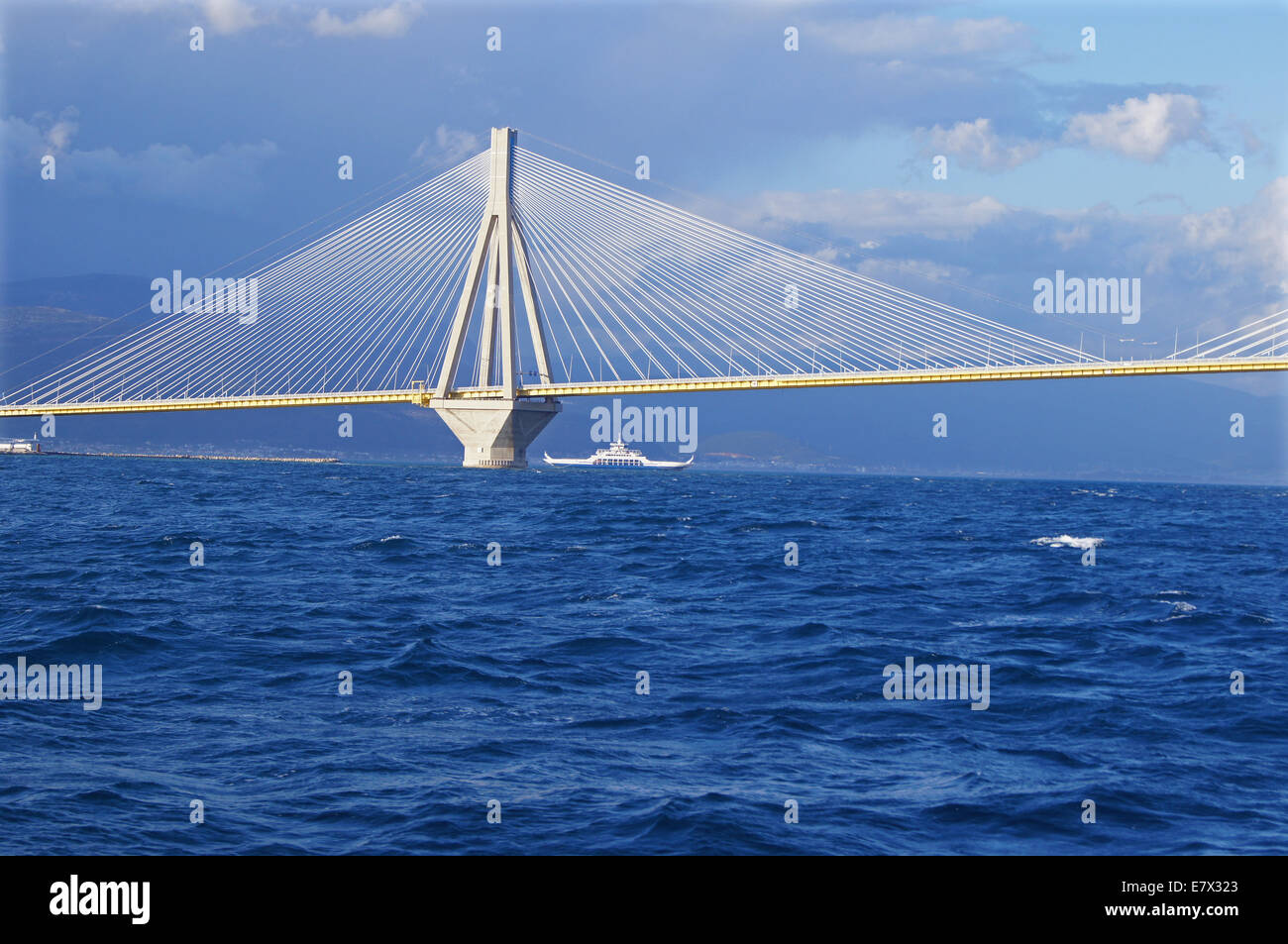 Rio–Antirrio bridge in the sunset light - Stock Image