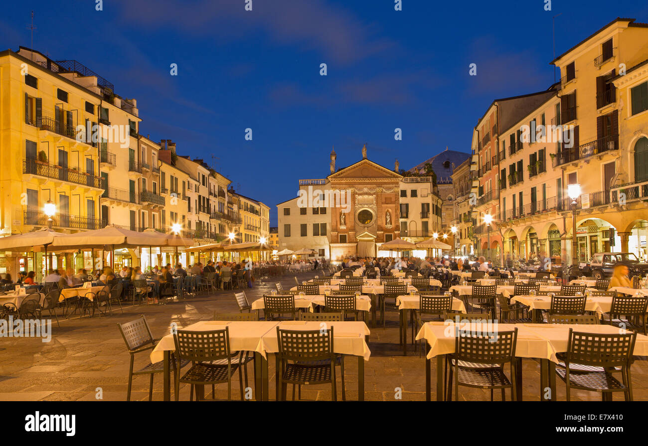 PADUA, ITALY - SEPTEMBER 11, 2014: Piazza dei Signori square with the church of San Clemente in the background in Stock Photo