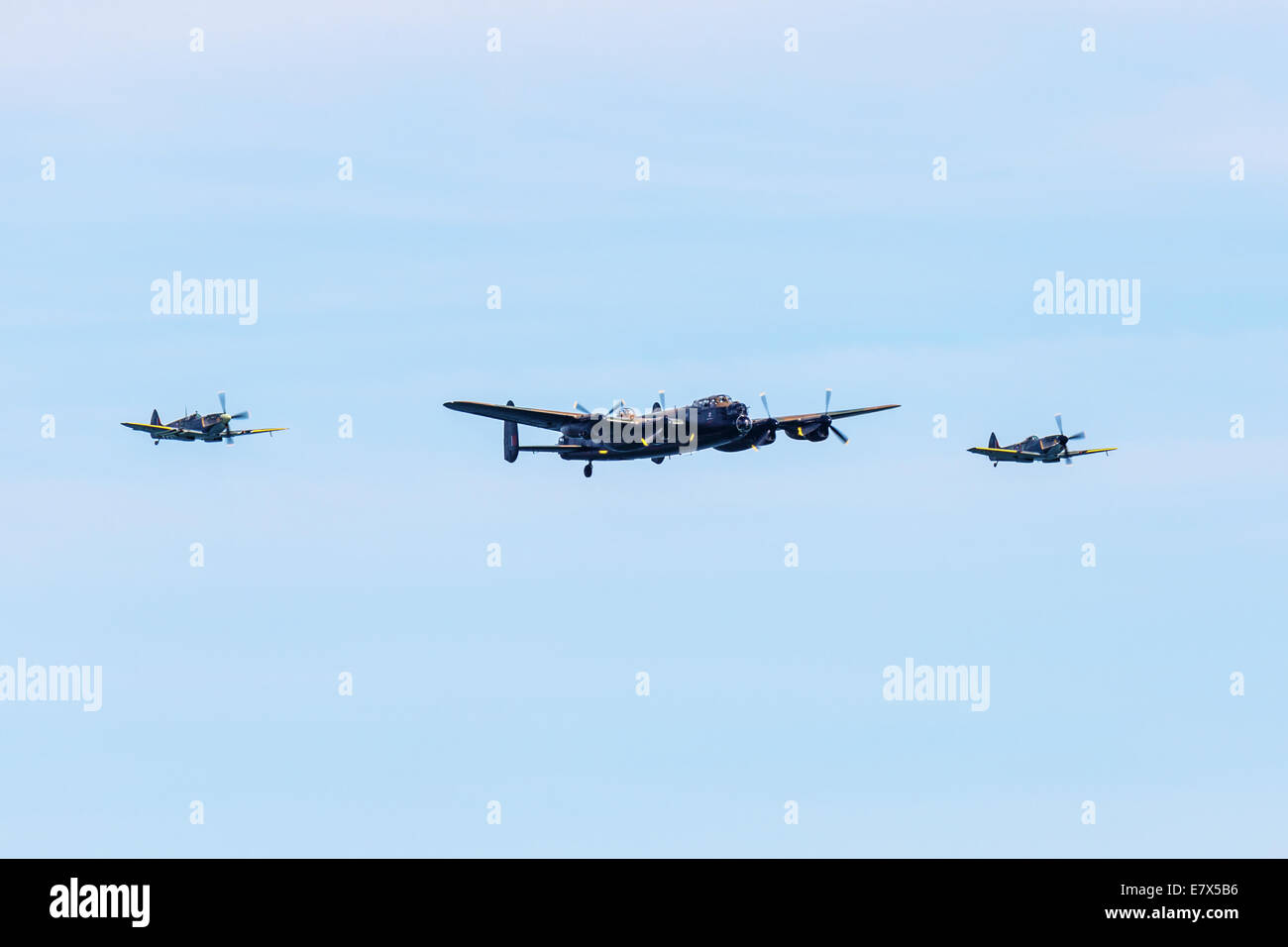 The Battle of Britain memorial flight , Spitfire Lancaster, and Hurricane flying in formation at the Bournemouth - Stock Image