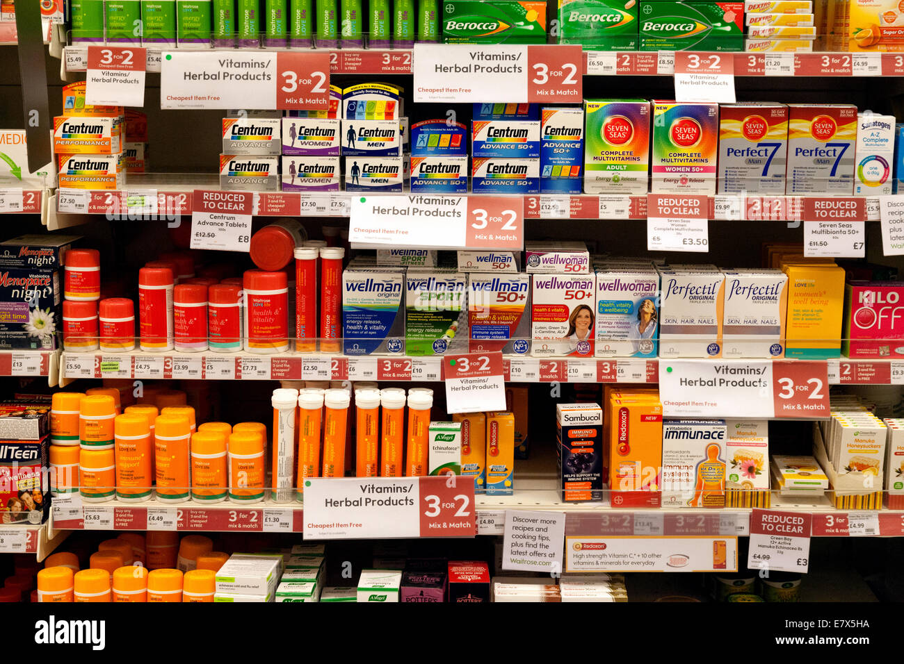 Vitamins and multivitamins for sale on supermarket shelves, Waitrose, Newmarket UK - Stock Image