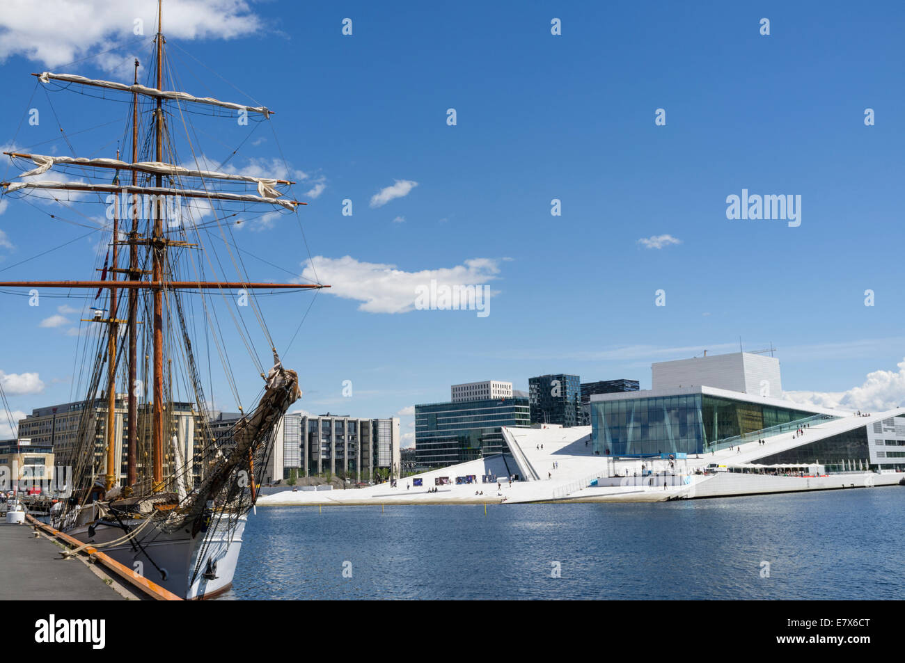 Sailboat and Opera Hall, Oslo, Norway - Stock Image