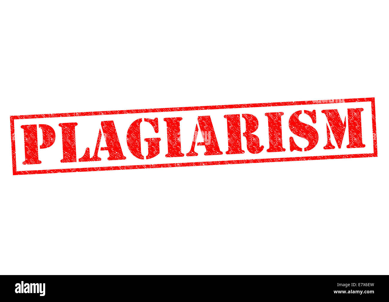 PLAGIARISM red Rubber Stamp over a white background. - Stock Image