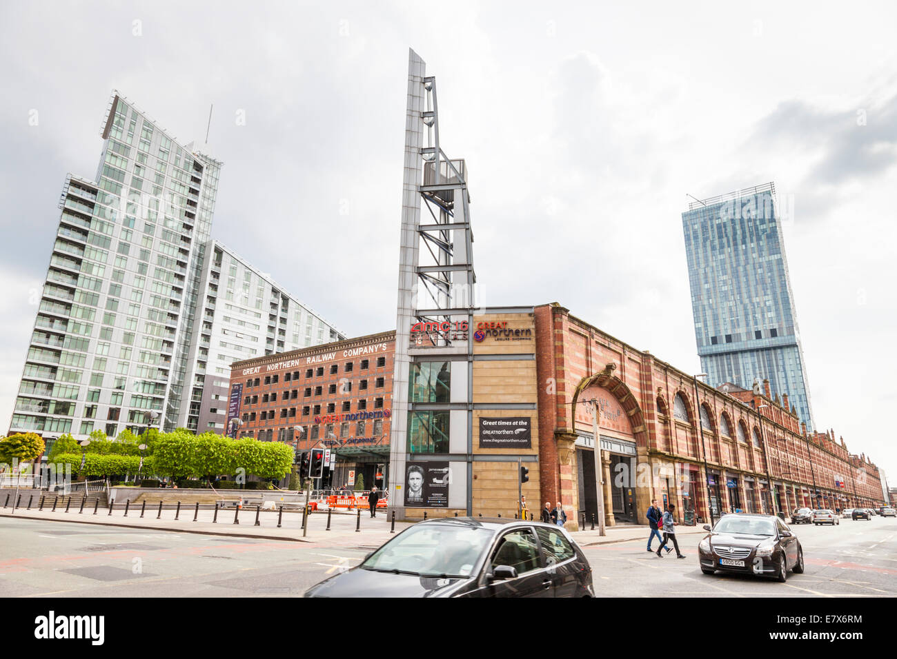 Great Northern, a shopping and leisure centre, with Windmill Street Tower and Beetham Tower behind, Deansgate, Manchester, Stock Photo