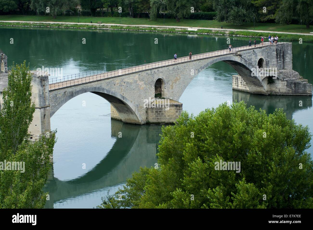 Saint Benezet bridge over the river Rhone , Avignon, Vaucluse, Provence-Alpes-Cote d'Azur, France, Europe. - Stock Image