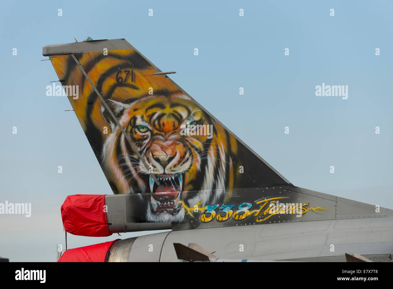 Tailplane of F16 Fighting Falcon, 338th Squadron, Royal Norwegian Air Force, RIAT 2014 - Stock Image