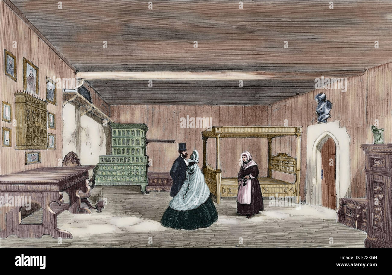 Martin Luther (1483-1546). German reformer. Luther's Room in Wartburg Castle, near Eisenach. Colored engraving. - Stock Image