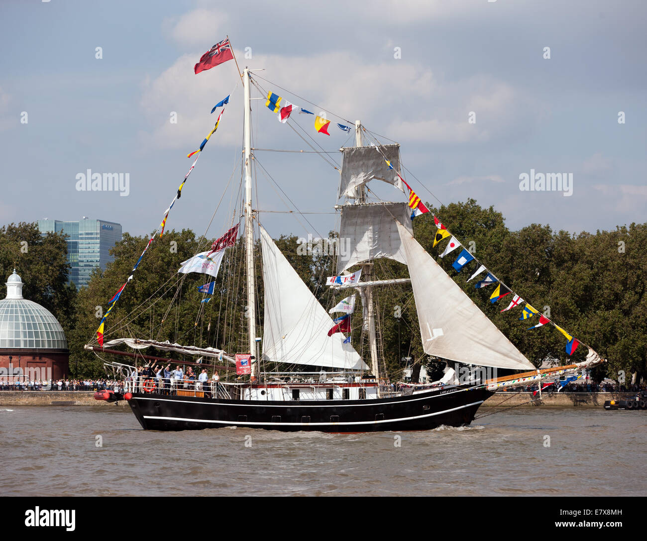 The Lady of Avenel, a Brigantine square rigger sailing ship,taking part in the Parade of Sail, during the Tall Ships - Stock Image