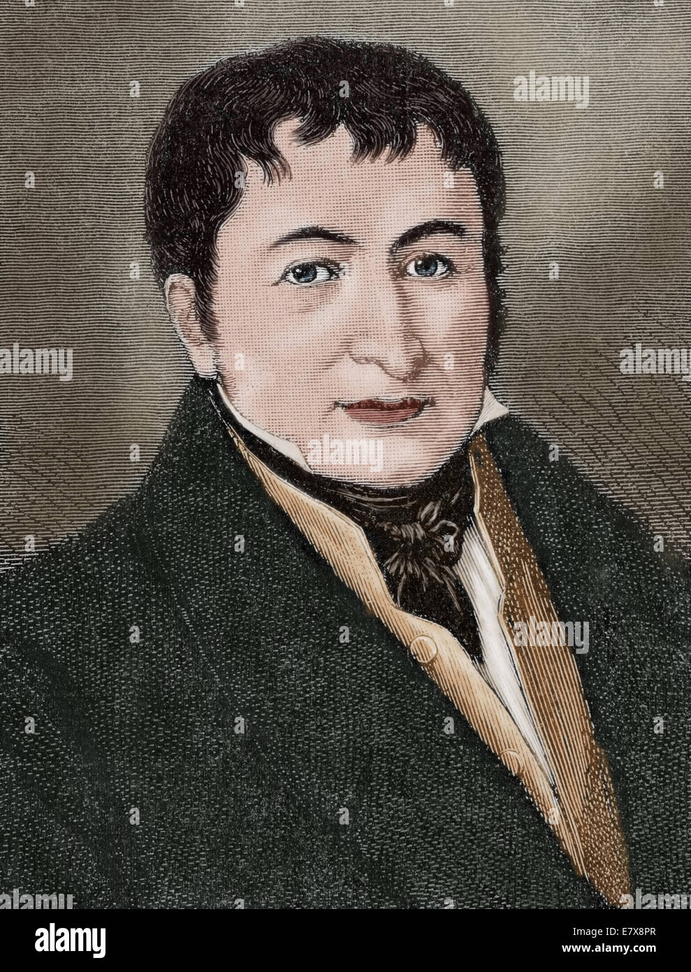 Friedrich Koenig (1774-1833). German Inventor. The Engraving in Illustration, 1883. Colored. - Stock Image