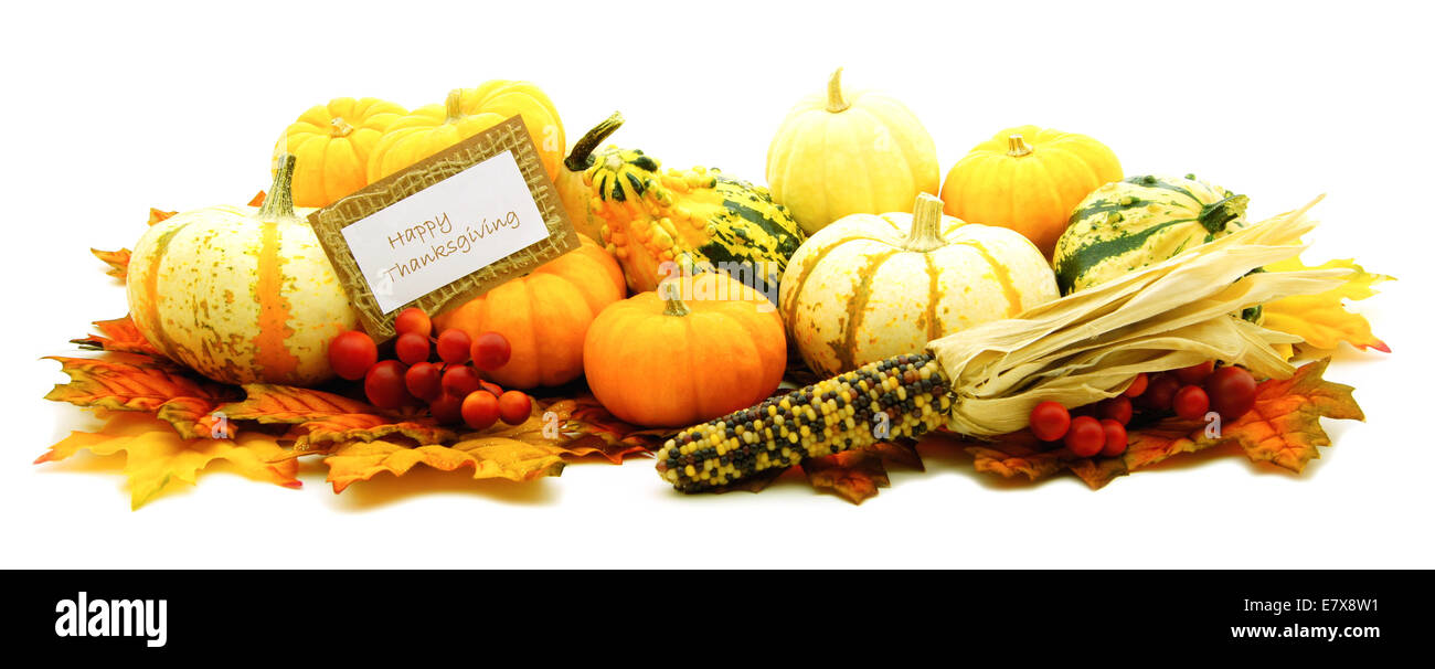 Happy Thanksgiving card among a group of pumpkins and gourds - Stock Image