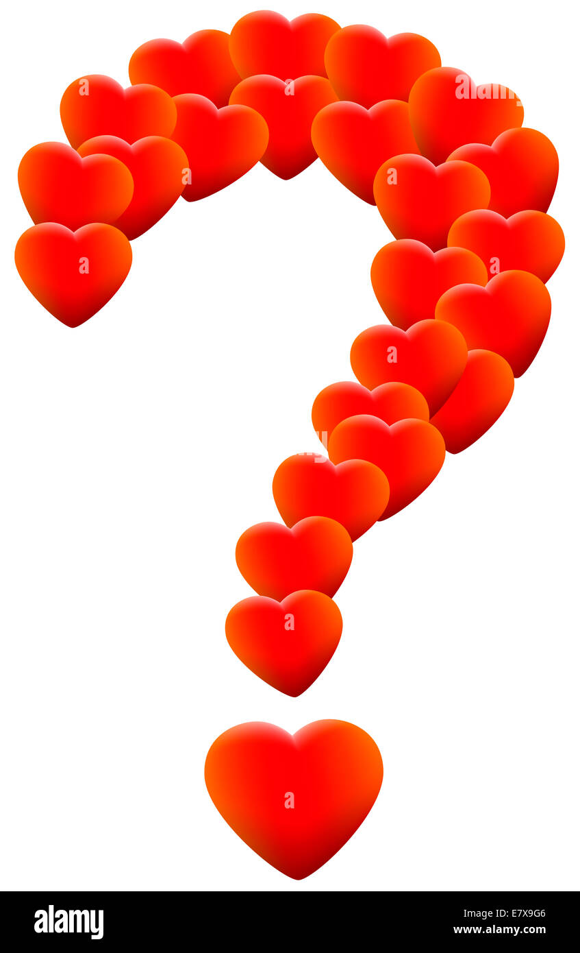 Red glowing hearts that form a question mark, as a symbol of helplessness concerning love themes. - Stock Image